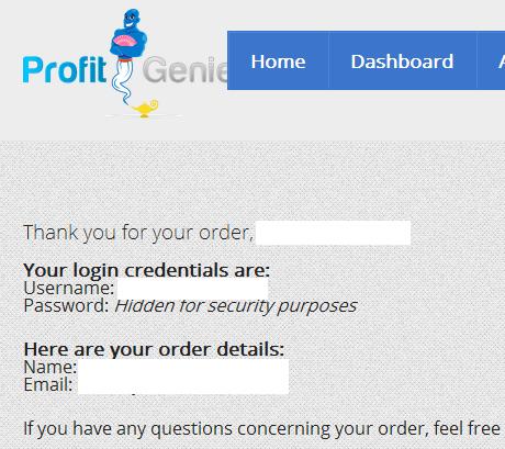 Profit Genie Dashboard Review