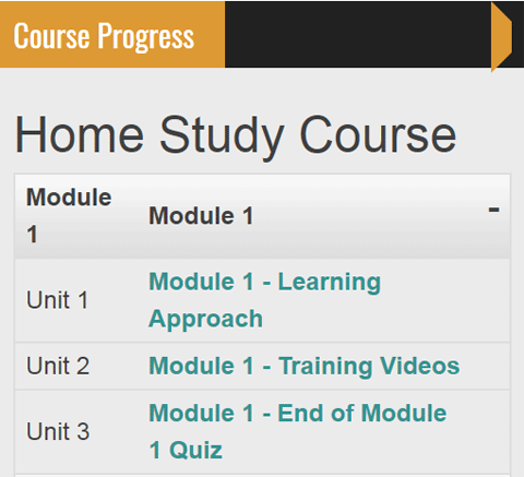 home study course progress