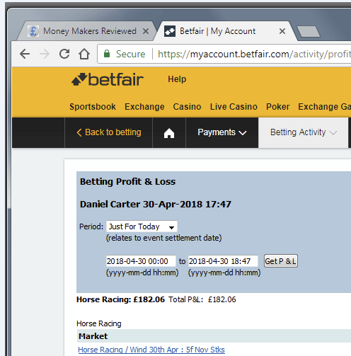 Betfair Scalping Profit and Loss