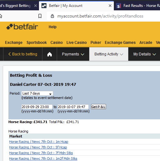 October 2019 Betfair Trading Profits
