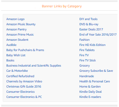 amazon banners and links